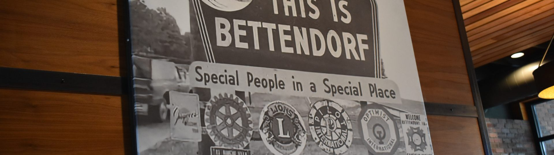 Old photo of This is Bettendorf town welcome sign.
