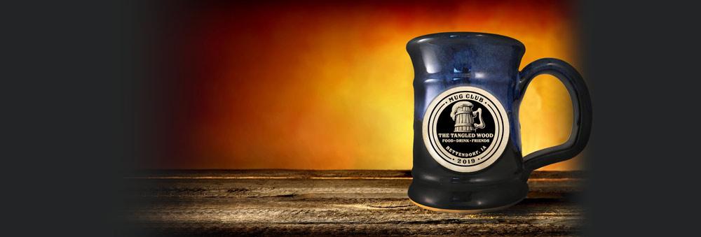 Blue mug on a table.